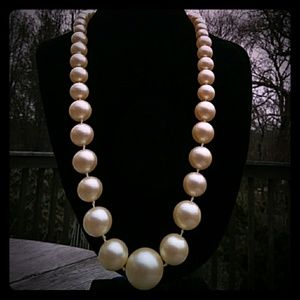 Vintage Hand-Knotted Graduated Faux Pearl Necklace